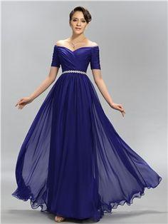 Casa de una línea con el vestido de noche plisados imperio hombro