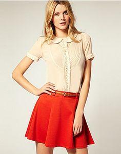 Buttoned short-sleeve blouse, loose miniskirt