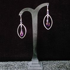 Silver Marquise hoops with drops of Amethyst Dangle earrings. Bridal earrings, wedding,statement, gemstone, handmade, for her, purple colour by Menir on Etsy