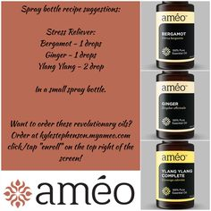 """Ameo Essential Oils spray bottle recipes! This one is the Stress Reliever! ~~ To order oils or become involved in this once in a lifetime opportunity go to Kylestephenson.myameo.com and click/tap the """"enroll"""" button on the top right of the screen! ~~ Keywords: doTERRA, Young Living, clinical grade, Zija, CERTI-5, natural, healthy, vegetarian, blends, bergamot, ginger, ylang ylang"""