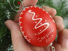 Christmas 2013 Ornament on Chicken Egg Pysanka in Red by EggstrArt, $29.95