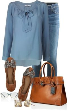 Never thought of a blouse like this with jeans. I like it! Like the shoes, too.