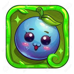 Illustration of Cartoon app icon with funny blueberry character. Vector asset for game or web design. vector art, clipart and stock vectors. Blueberry Farm, Face Template, Best Fruits, App Icon, Animal Drawings, Vector Art, Fingers, Rocks, Web Design