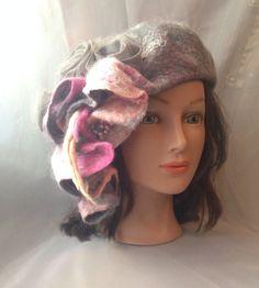 designer hat beret Felted womens ladies  nunofelted ♡ by Tatiana123