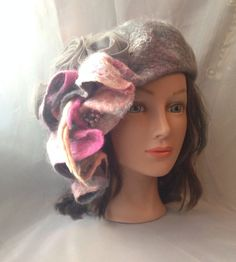 designer hat beret Felted womens ladies  nunofelted ♡ by Tatiana123