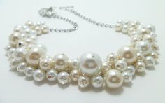 Pearl Necklace, Ivory and White Pearl Necklace, Chunky Necklace, Cluster Necklace, Bridal Jewelry, Bridesmaid Necklace, Bib Necklace,