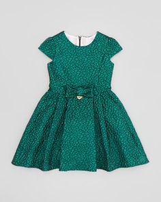 Metallic Jacquard Dress, Teal, Sizes 4-8 by Miss Blumarine at Neiman Marcus.