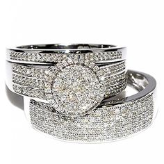 His and Her Rings 0.73ct 10K White Gold Wide Wedding Set Mens Womens Halo - Jewelry For Her