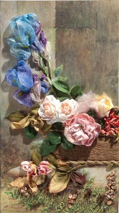 ❥ ribbon flowers
