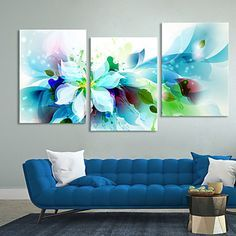 ensemble de 3 fleurs bleues abstraites modernes de toile toiles tendues prêt à accrocher - EUR € 58.17