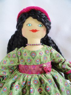 Southern Belle Doll in Green Dress by JoellesDolls on Etsy, $40.00 One of a kind handmade doll