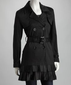 Joy Mark Black Pleated Trench Coat on #zulily.  Satin pleats provide this timeless trench with plenty of posh appeal. Adjustable buckles at the waist and each wrist customize the fit, while comfortable cotton creates a cozy yet breathable feel.   97% cotton / 3% spandex  Hand wash; hang dry; Imported  Reg $65. Now $24.99 (3/2/13)