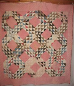 Antique 1800's Ocean Wave Quilt hand Stitched Pink blue calico Fabric vintage   eBay