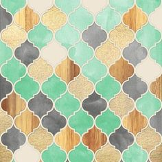 Charcoal, Mint, Wood & Gold Moroccan Pattern Art Print by Micklyn Le Feuvre Islamic Patterns, Tile Patterns, Pattern Art, Textures Patterns, Pattern Design, Pretty Patterns, Cute Wallpapers, Wallpaper Backgrounds, Art Marocain