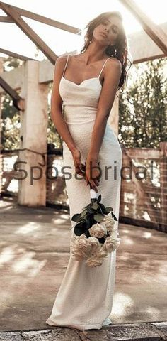 Ivory Unique Spaghetti Straps Modest Prom Dresses, Fashion Wedding Dresses WD0458  #weddingdresses #weddingdress #bridalgown #weding #bridaldress #laceweddingdress #fashion #Ballgown #Country #boho #Princess #modest Pretty Wedding Dresses, Country Wedding Dresses, Princess Wedding Dresses, Wedding Dress Styles, Bridal Dresses, Bridesmaid Dresses, Prom Dresses, Long Sleeve Wedding, White Maxi Dresses