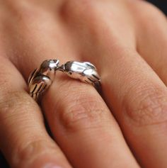 Kissing Sparrow Birds- Couples Love Ring - Celebrity Style - Sterling SIlver with Platinum - Hypoallergenic Ring