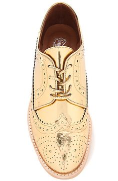 Jeffrey Campbell Shoe Townsend Oxford in Gold Metallic