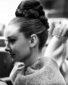 Audrey Hepburn with a high bun