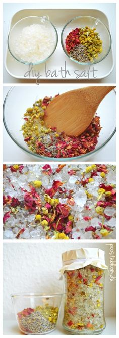 Tutorial Badesalz, how to create your own bath salt. Perfect for christmas presents. poostebloom.de