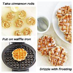 Waffle iron cinnamon bun waffles