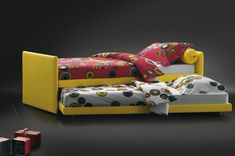 """""""Duetto"""" Trundle Bed with removable cover. Design by Flou. Two sizes and various fabric options available. #Bedroom #InteriorDesign #HomeDecor #Design #Arredamento #Furnishings"""
