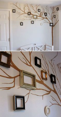 fotos_arbol_familia_pared_corcho Photo Wall Decor, Living Room Background, Virginia Homes, Family Tree Wall, Wall Wallpaper, Family Pictures, Diy Painting, Wall Design, Gallery Wall