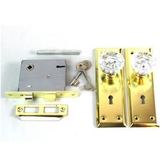 Antique Style Brass Door Knob Plates Mortise Lock And Glass Skeleton Keys