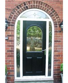 Veka Composite Door in Arched Frame with Bespoke Glazed Surround Arched Front Door, Wooden Front Doors, Arched Doors, Exterior Front Doors, House Front Door, House With Porch, Porch Uk, Porch Doors, Entry Doors