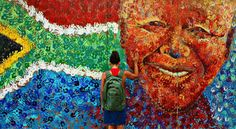 Cape Town Tourism, the official website for Cape Town, South Africa Africa Flag, New Africa, Cape Town Tourism, South African Flag, Flag Art, Nelson Mandela, Mandela Art, Travel Planner, Street Art Graffiti
