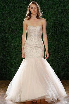 wtoo watters fall 2014 bridal iliana blush strapless fit flare wedding dress