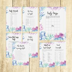Succulent Baby Shower Games Package Ideas Activities Eight Printable Games Bingo Price is Right Purse Game for Boy Girl Fun Boho 0039A-B by TppCardS #tppcards #printable #invitations