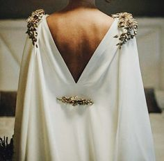 gown with gold accents
