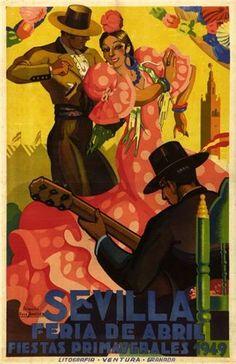 SEVILLA, FERIA DE ABRIL, vintage poster, via icollector.com