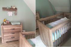 In de babykamer  van Suus vind je meubels van de Brent Oldwood Grijs serie en mintkleurige accessoires van het merk Baby's Only.