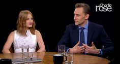 """In an interview for gothic romance film Crimson Peak on PBS's Charlie Rose, actors Jessica Chastain, Mia Wasikowska, and Tom Hiddleston were asked by the host, """"What's the difference between horror films and gothic romance? Gothic, Charlie Rose, Mia Wasikowska, Romance Film, Crimson Peak, Tom Hiddleston Loki, Jessica Chastain, Horror Films, I Don T Know"""