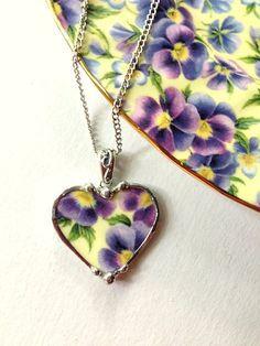 Broken china jewelry purple pansy chintz heart shaped necklace pendant purple and light yellow porclain: