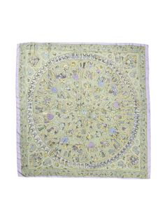 """""""Lalbhai"""" Summer Silk Twill Shawl 140cm by Hermès on Gilt.com Silk twill shawl by Michel Duchene in a lavender colorway depicting palm-leaf manuscripts and miniature paintings from the 11th century stored in the Lalbhai Dalpatbhai Indology Museum in India"""