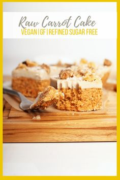 These raw carrot cake bites with cashew cream cheese frosting are vegan, gluten-free, and refined sugar-free for a wholesome and delicious dessert everyone can enjoy. A fan-favorite, I think you're going to love them. Baked Carrots, Köstliche Desserts, Delicious Desserts, Frozen Desserts, Healthy Desserts, Raw Carrot Cakes, Raw Vegan Recipes, Vegan Raw