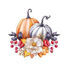 Floral Pumpkins, Thanksgiving Watercolor Illustration, Autumn Flowers, Harvest, Botanical Fall Decor, Festive Clip Art Isolated On Stock Illustration - Illustration of clip, decoration: 156409355 Art And Illustration, Floral Illustrations, Watercolor Illustration, Watercolor Paintings, Stock Illustrations, Botanical Illustration, Watercolor Flowers, Fall Drawings, Cute Drawings