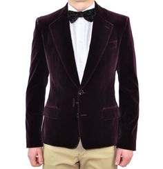 DOLCE-GABBANA-Samt-Sakko-Blazer-Bordeaux-Rot-Velvet-Tuxedo-Veste-Red-01347