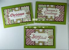 Stampin' Up! ... trio of handmade Christmas cards by Marelle Taylor ... great design for using blocks of scrap paper ... three panels matted on one mat ... papers from same color collection ... luv the way the ribbon wraps around the panel running behind the tags ... wonderfula cards ...