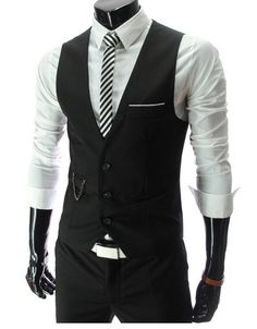 Men Formal Slim Fit Pocket Design Casual Fashion V Neck Vest Coat 4 Colors | eBay