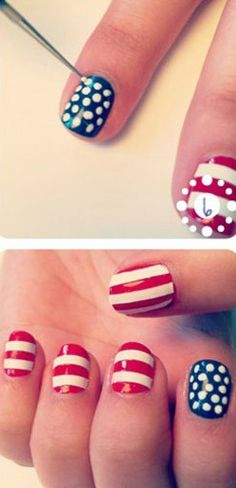 Easy American Flag Nails - Want to do it yourself? Click on the image for the tutorial!