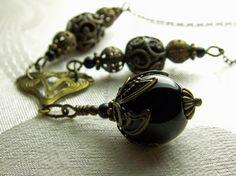 Jet Black Onyx Gemstone Bronze Necklace by TitanicTemptations, $59.00