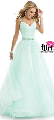 Flirt by Maggie Sottero 2014 Prom Dresses - Sweet Mint Tulle Ball Gown with Ruched Tulle & Jeweled Straps