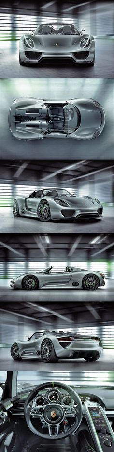 "The 918 Spyder concept combines high-tech racing features with electric-mobility to offer a fascinating range of qualities. ""Very James Bond like"" Sporty, mysteries and intriguing. Porsche 911, Audi, Bmw, Maserati, Royce, Jaguar, Nissan, High Car, Sport Cars"