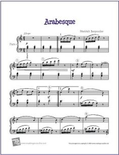 Arabesque (Burgmüller) | Free Sheet Music for Piano - http://makingmusicfun.net/htm/f_printit_free_printable_sheet_music/arabesque-piano.htm