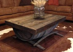 Items similar to Wine barrel table on Etsy Barrel Furniture, Rustic Furniture, Bar Top Tables, Wine Barrel Coffee Table, Whiskey Room, Whiskey Barrels, Barbie Dream House, Outdoor Tables, Table Seating