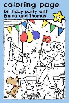 birthday party with Emma and Thomas, coloring pages, colouring picture, kids, birthday, celebrations, dancing • verjaardagsfeest met Emma en Lowie, kleurplaat, kleurprent, kinderen, verjaardag, feesten, dansen • Geburtstagsfeier mit Emma und Leon, Ausmalbilder, Malvorlagen, Kinder, Geburtstag, Feste, Tanzen • fête d'anniversaire avec Emma et Louis, coloriage, enfants, anniversaire, fêtes, danser #freebie #ColoringPages #kleurplaat #Ausmalbilder #coloriage #kids #kinderen #Kinder #enfants Birthday Coloring Pages, Nouvel An, Educational Games, Colouring Pages, Spring Colors, Book Crafts, Colorful Pictures, Boy Birthday, Favorite Color