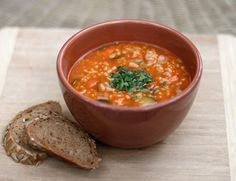 Vegetable soup with Arborio rice and white beans. Vegan.